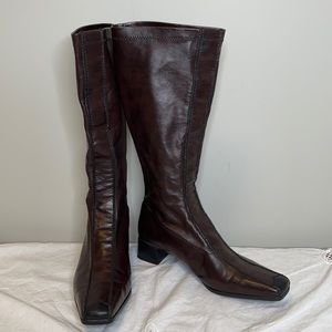 Rieker Y2K brown/black stretch faux leather boots